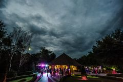 People dancing and having fun in summer party outdoor. royalty free stock photos
