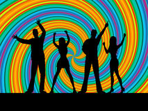 People Dancing Means Disco Music And Dance vector illustration