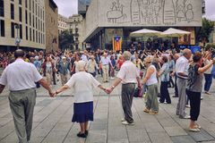 People dancing national dance Sardana in Barcelona, Spain Royalty Free Stock Photos