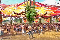 People dancing on Ozora Festival, on Royalty Free Stock Photo