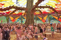 People dancing on Ozora Festival Royalty Free Stock Images