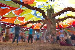People dancing on Ozora Festival, on Royalty Free Stock Photos