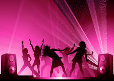 People_dancing_in_the_pink_disco_lights Royalty Free Stock Photos
