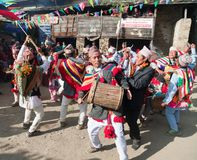 People dancing and playing on drums - Nepal Royalty Free Stock Photo