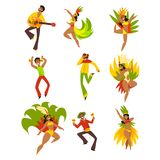People dancing and playing music, Brazil carnival, dancing men and women in bright costumes vector Illustrations on a. People dancing and playing music, Brazil Stock Images