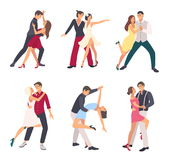 People dancing salsa. Couples, man and woman in dance, in different postures. Colorful flat illustration set. royalty free illustration