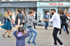 People Dancing In The Street For a Charity Event, Shop Street, G. Alway , Ireland,  August 2016 Royalty Free Stock Image