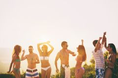 People dancing in summer royalty free stock image