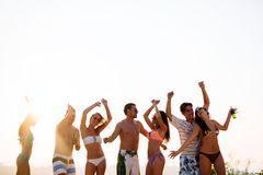 People dancing in summer stock image