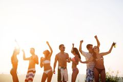 People dancing in summer stock photography