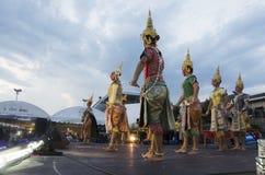 People dancing supreme thai mask or Khon dance drama thai style Royalty Free Stock Images