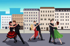 People dancing tango. A vector illustration of people dancing tango in front of a European style buildings Stock Photo