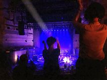 A night in concert. People are dancing in their seats during the concert Royalty Free Stock Image