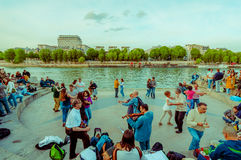 People dancing to live music in the streets of Paris Stock Photography