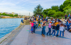 People dancing to live music in the streets of Paris Royalty Free Stock Photo
