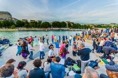 People dancing to live music in the streets of Paris Royalty Free Stock Image