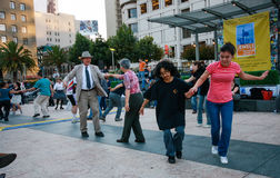 People are dancing at Union Square Stock Image