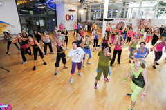 People dancing during Zumba training fitness at a gym Stock Photography