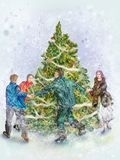 People dancings round a festive fir-tree. Four, three men and woman. Picture, computer graphics Royalty Free Stock Photos