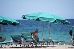 People on Dania Beach, in Fort Lauderdale, Florida Royalty Free Stock Photo