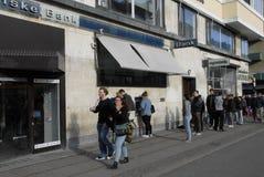 PEOPLE AT DANSKE BANK'S ATM Stock Images