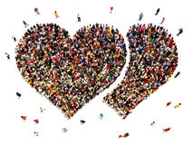 People dating and finding love. Large crowd of people in the shape of hearts Royalty Free Stock Photos