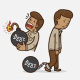 People on debt. People in debt cartoon illustration Royalty Free Stock Photos