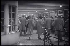 People on deck of ocean liner stock video