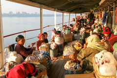 People on the deck of a passenger ship on the river Ayeyarwady o Royalty Free Stock Image
