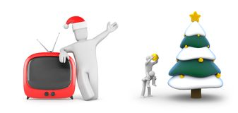 People decorate the Christmas tree and person with festive hat and TV. New year and christmas comes. 3d illustration Royalty Free Stock Photo