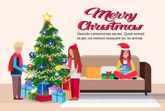 People decorate fir tree merry christmas happy new year holidays concept modern living room interior flat horizontal. Copy space vector illustration royalty free illustration