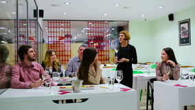 People are on the degustation of wine stock video