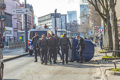 People demonstrate against EZB and Capitalism in Frankfurt. FRANKFURT, GERMANY - MAR 18, 2015: people demonstrate against EZB and Capitalism in Frankfurt Royalty Free Stock Photography