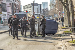 People demonstrate against EZB and Capitalism in Frankfurt. FRANKFURT, GERMANY - MAR 18, 2015: people demonstrate against EZB and Capitalism in Frankfurt Royalty Free Stock Photos