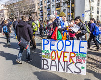 People demonstrate against EZB and Capitalism in Frankfurt Royalty Free Stock Photo