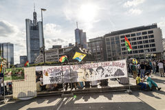 People demonstrate against murder and violation of kurdish peopl. FRANKFURT, GERMANY - AUGUST 9, 2014: people demonstrate against murder and violation of kurdish Royalty Free Stock Images
