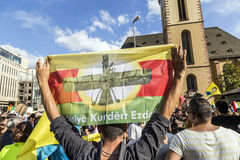 People demonstrate against murder and violation of kurdish peopl. FRANKFURT, GERMANY - AUGUST 9, 2014: people demonstrate against murder and violation of kurdish Stock Photography