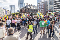 People demonstrate against murder and violation of kurdish peopl. FRANKFURT, GERMANY - AUGUST 9, 2014: people demonstrate against murder and violation of kurdish Stock Photo
