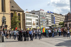 People demonstrate against murder and violation of kurdish peopl. FRANKFURT, GERMANY - AUGUST 9, 2014: people demonstrate against murder and violation of kurdish Royalty Free Stock Photo