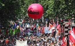 People demonstrate in Paris Stock Photo
