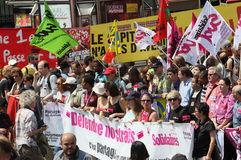 People demonstrate in Paris Stock Images