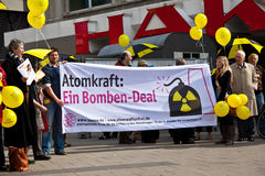 People demonstrate for shutting down the German nuclear power pl Stock Photos