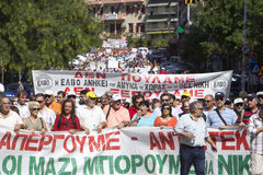People demonstrate in Thessaloniki Stock Images