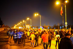 People demonstrating against corruption, Bucharest, Romania Royalty Free Stock Photos
