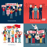 People At Demonstration Concept. With protest action festive rally leader of social movement arrest  vector illustration Royalty Free Stock Image