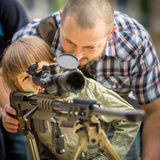 People during demonstration of the military and rescue equipment . Krakow. Royalty Free Stock Photos