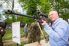 People during demonstration of the military and rescue equipment Royalty Free Stock Images