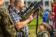 People during demonstration of the military and rescue equipment Royalty Free Stock Photos