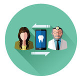 People and dentist connecting with mobile Stock Photo