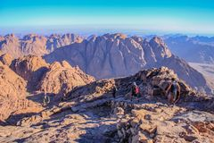 People descending from the summit of Mount Sinai in Egypt, Sinai Peninsula. stock image